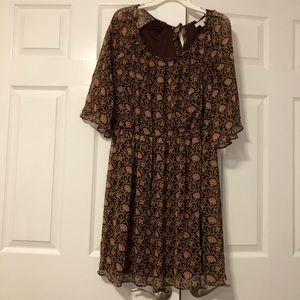 Lauren Conrad Pleat Neck Dress w/Flutter Sleeve